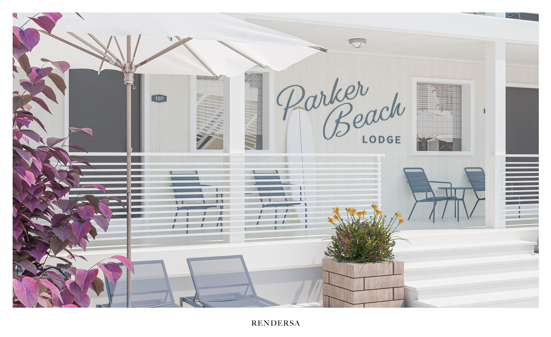 3D rendering hotel table and chairs outside the room Bluebird Parker Beach Lodge