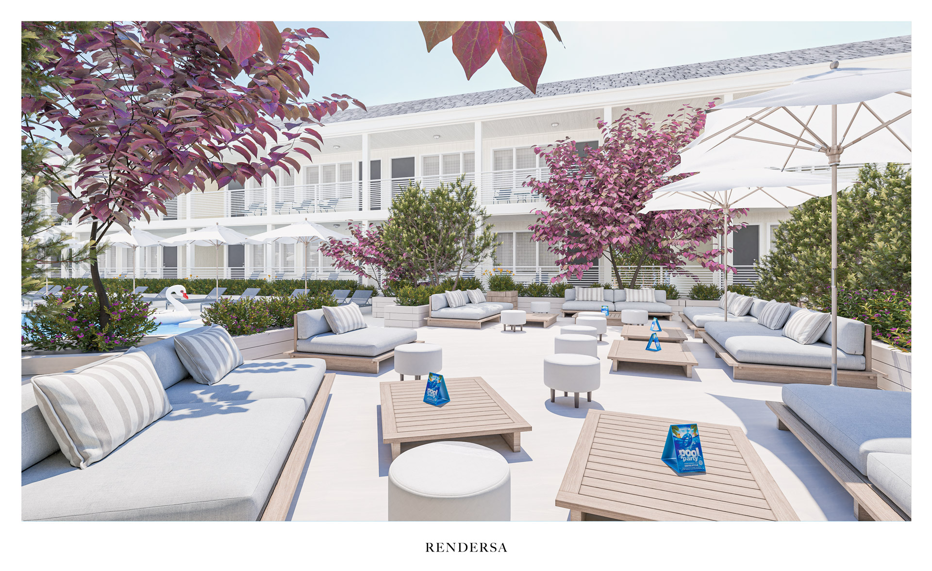 3D rendering hotel Chill Out Area Pool Bluebird Parker Beach Lodge
