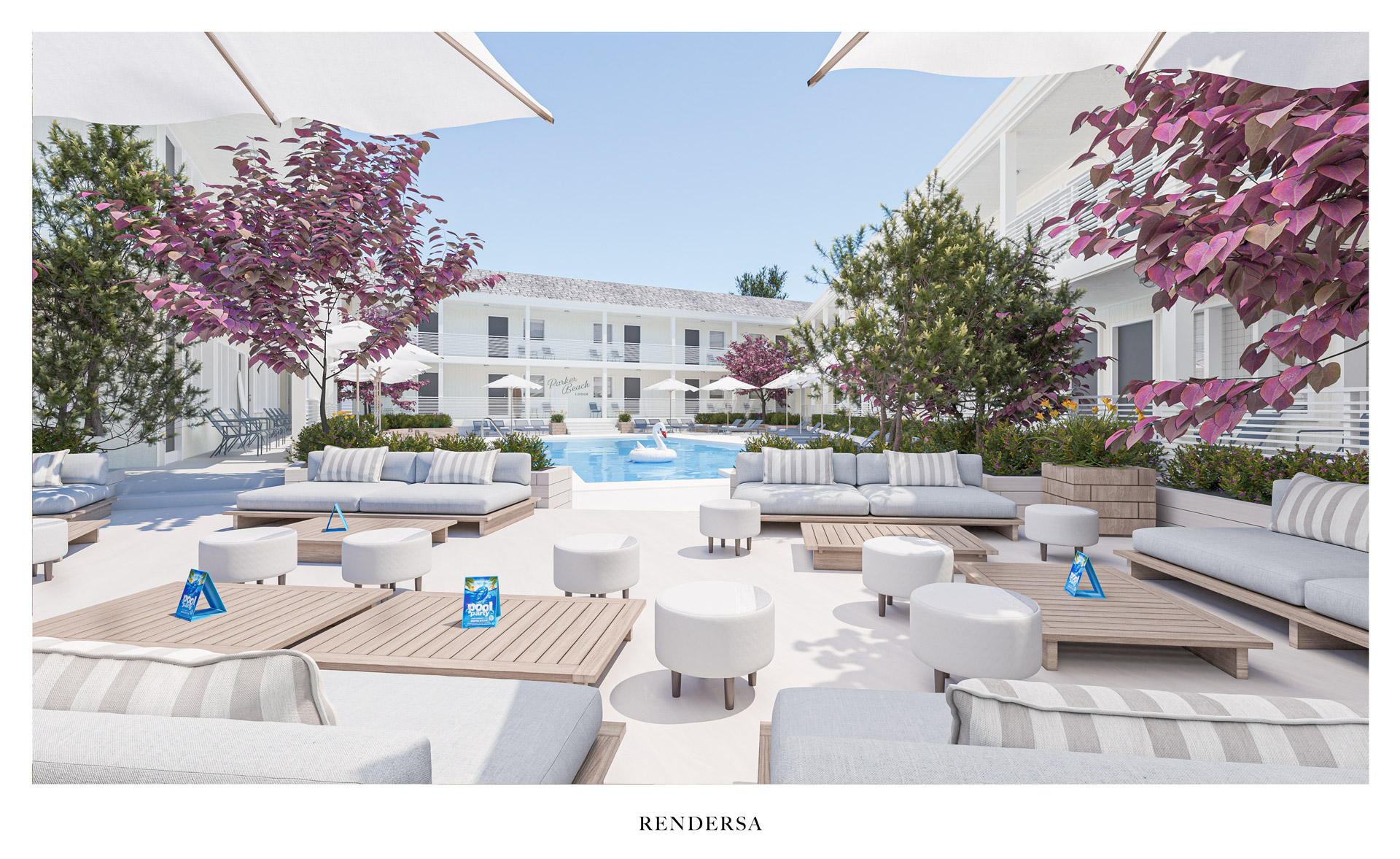 3D rendering hotel Chill Out SwimmingPool Area Bluebird Parker Beach Lodge
