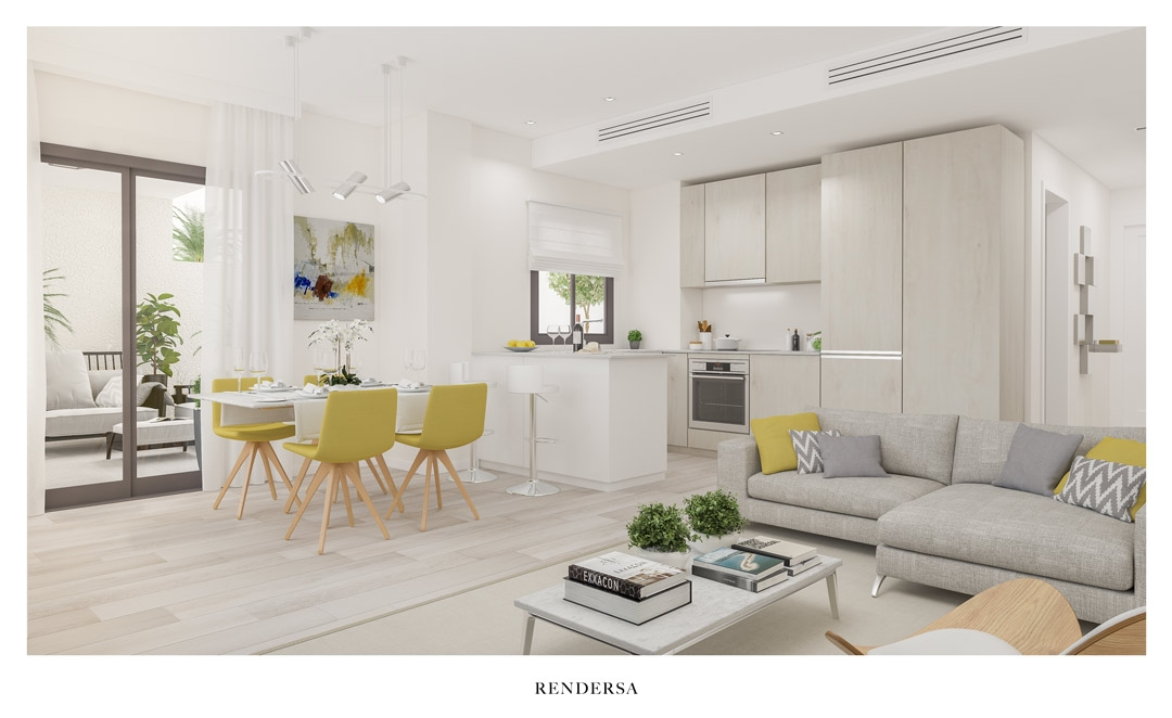 Interior Design 3D Renderings Residential Building in Málaga City