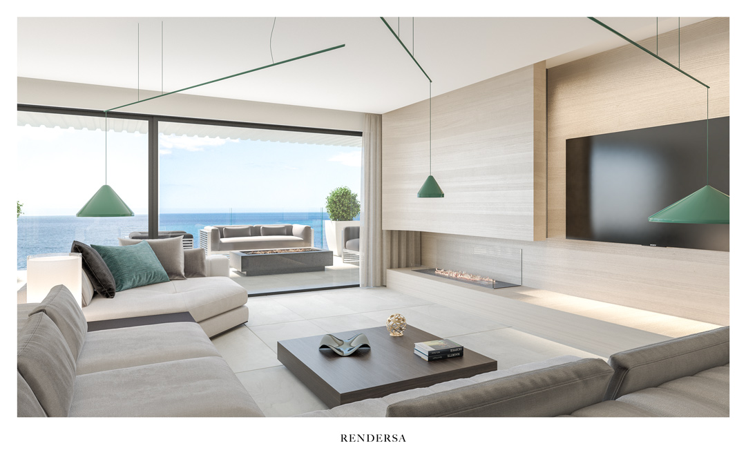 Interior design rendering living room Torre del Río, Málaga