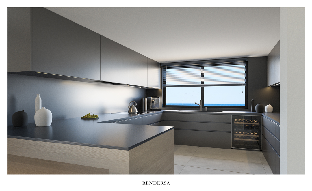 Interior design rendering kitchen Torre del Río, Málaga