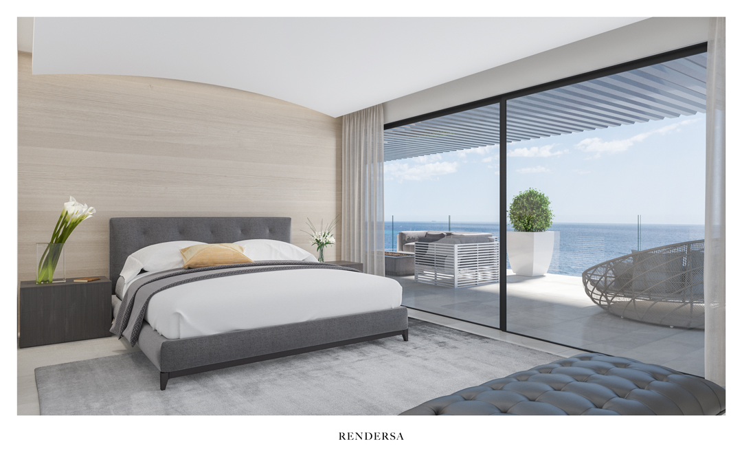 Interior design rendering bedroom Torre del Río, Málaga