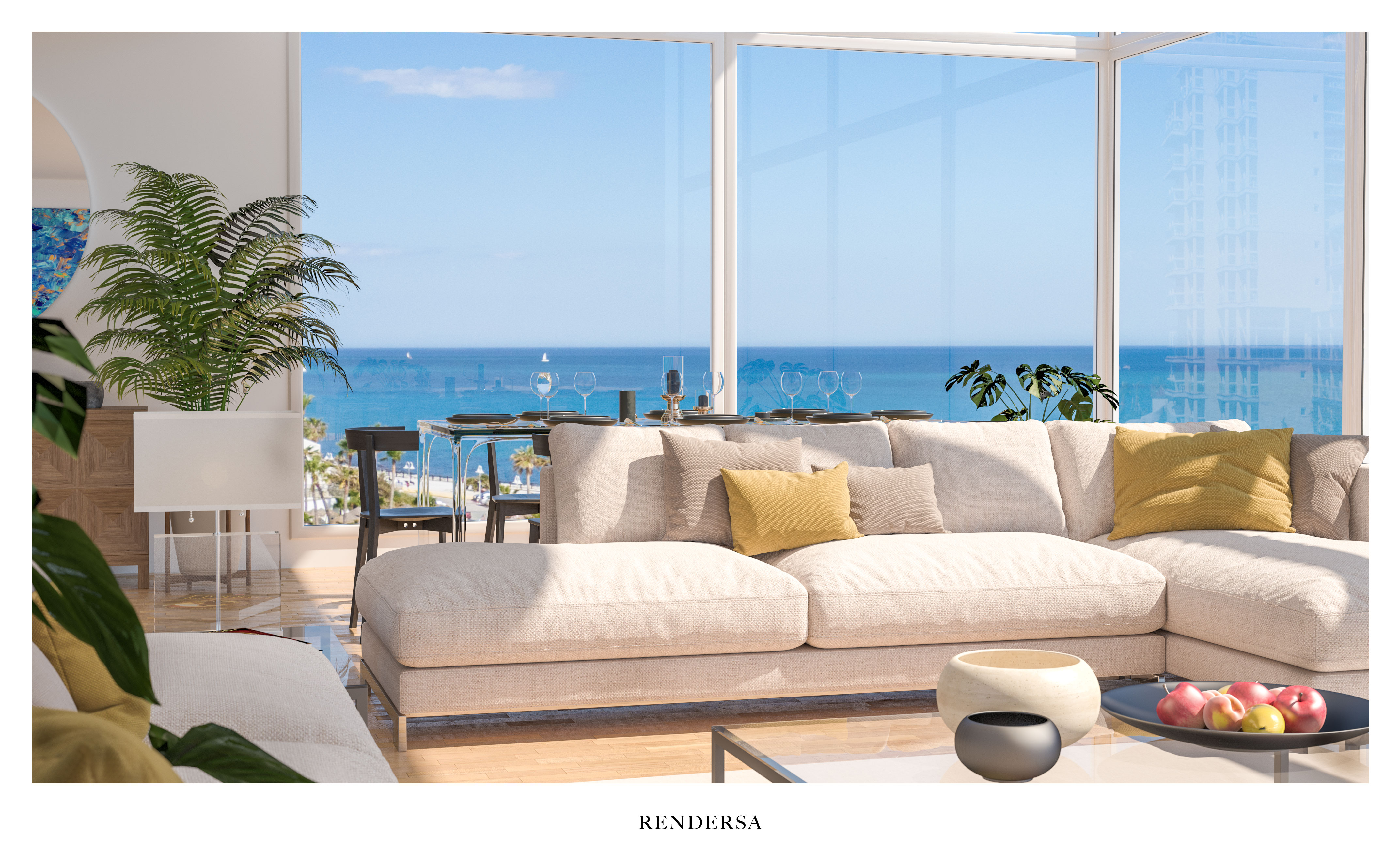 3D Architectural Rendering Living Room South Beach, Miami Beach