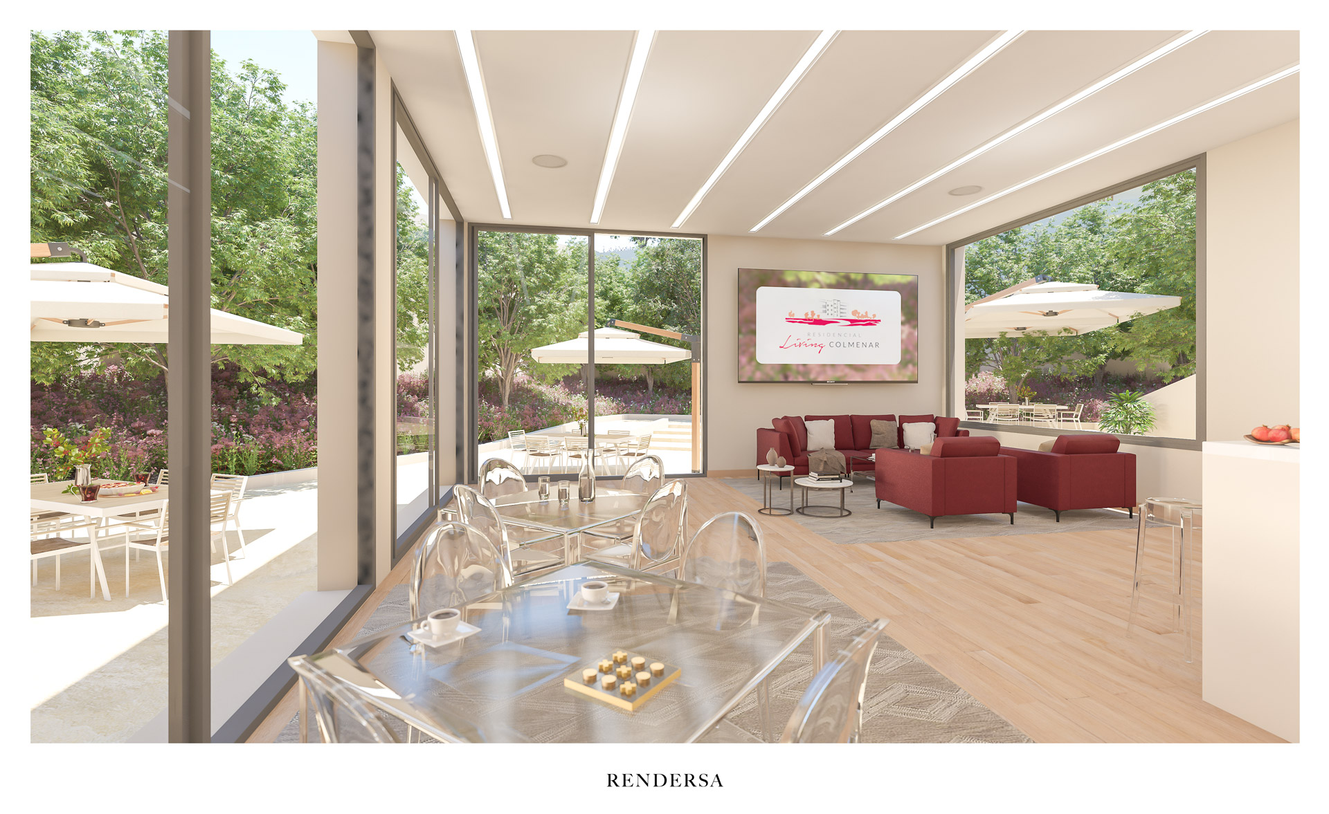 Residential 3D rendering Common Area