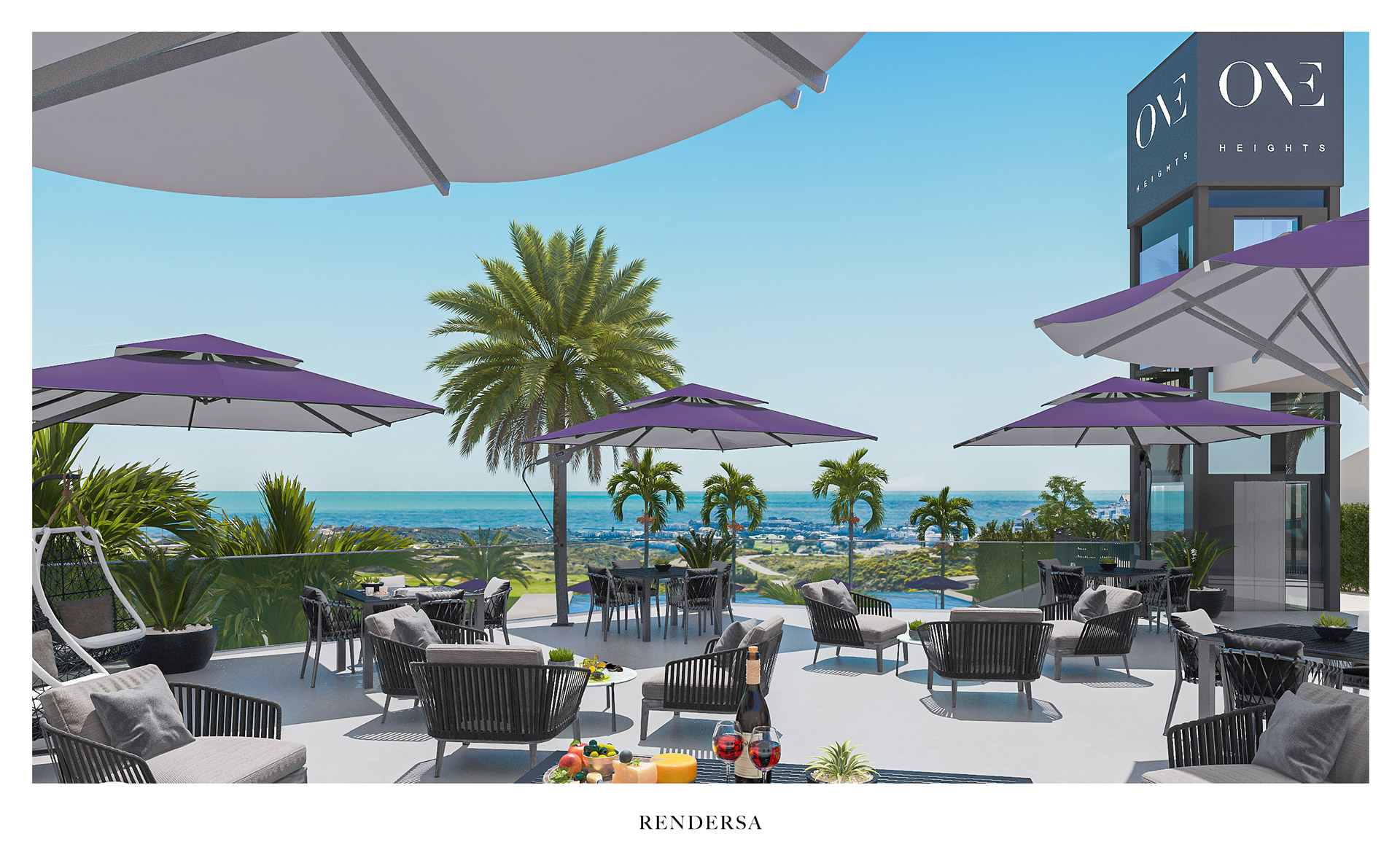 Residential 3D architectural rendering One Heights social area