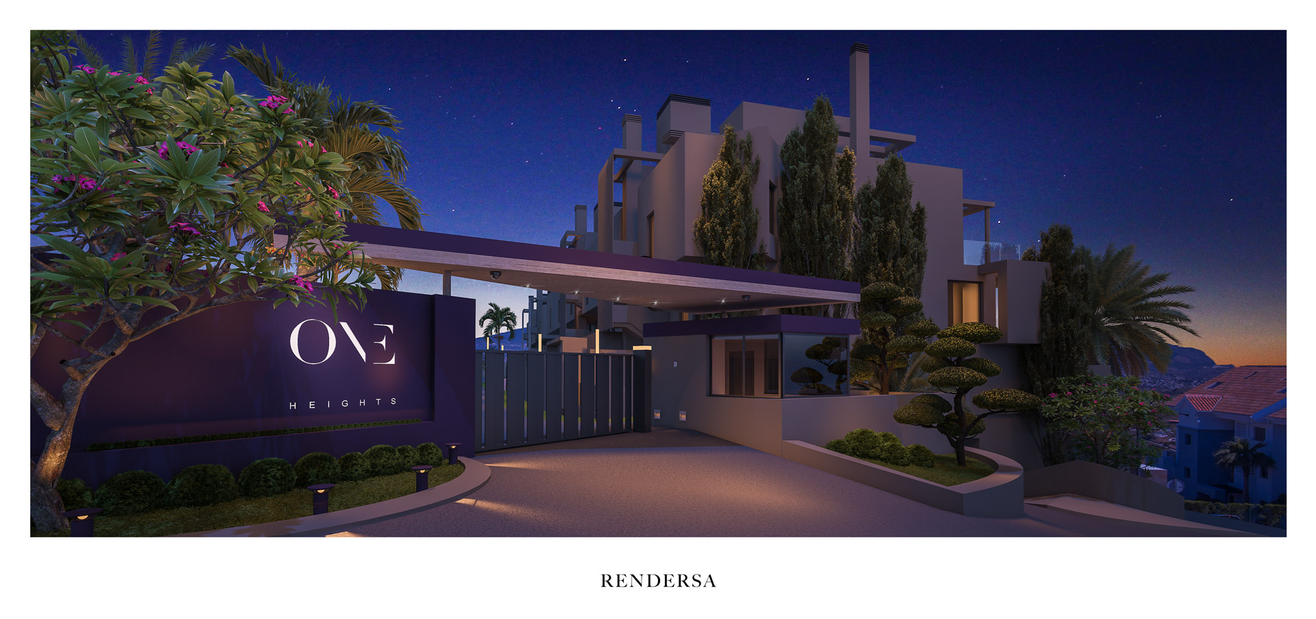 Residential 3D architectural rendering One Heights entrance