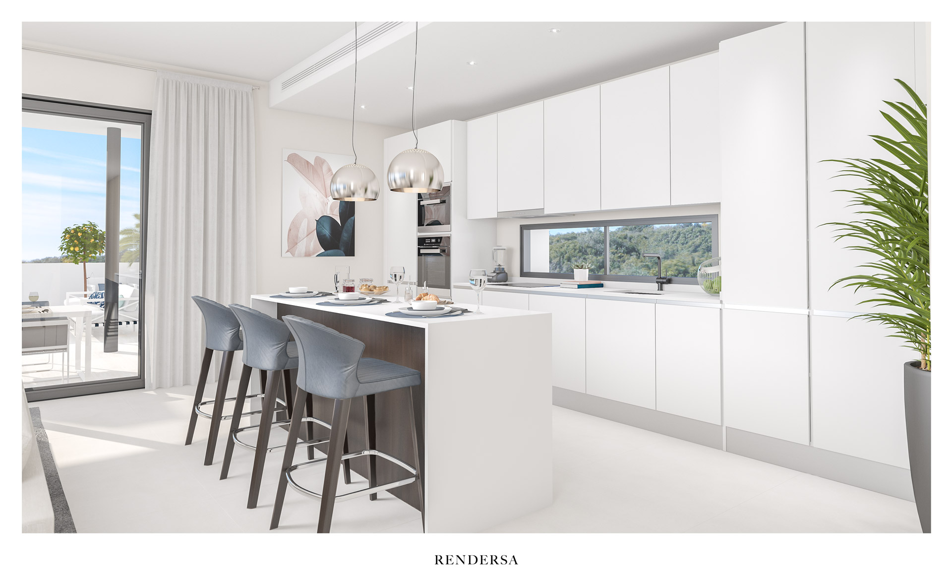 3D architectural rendering kitchen Finca Cortesin Bon Air